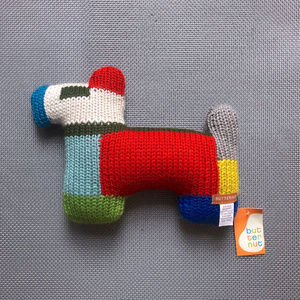 Hand Knit Baby Stuffed Dog Toy Color Block GIFT